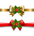 golden and red bow with holly berry vector image vector image