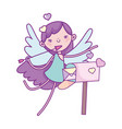 Happy valentines day cute cupid with hearts and