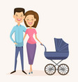 happy young family couple with baby carriage vector image vector image