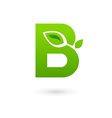 Letter B eco leaves logo icon design template vector image vector image