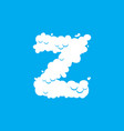 letter z cloud font symbol white alphabet sign on vector image