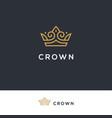 linear elegant crown logo vector image vector image