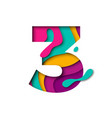 paper cut number three 3 letter realistic 3d vector image