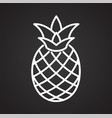 pineapple icon on black background for graphic and vector image