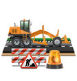 Road Construction with Grader vector image vector image