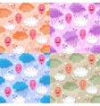 seamless patterns with balloons and clouds vector image vector image