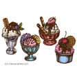 set hand drawn colored ice cream bowls vector image