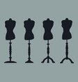 set of 4 silhouettes of mannequins on carved legs vector image
