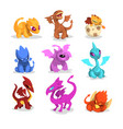 set of colorful dragons in flat style cartoon vector image