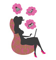 silhouette of beautiful woman with laptop vector image