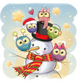 snowman and five cute cartoon owls vector image vector image