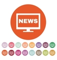 The tv news icon Television and telly vector image vector image