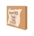 Vintage western wanted poster cartoon icon vector image vector image