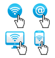 wifi symbol with cursor hand icons vector image vector image