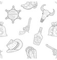 wild west seamless pattern western cowboy hand vector image vector image
