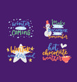 winter hello logo badge text letters vector image vector image