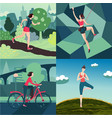 woman outdoor sport activity workout on nature vector image