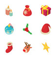 xmas notice icons set isometric style vector image vector image