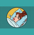 sick young woman lying in bed with thermometer vector image