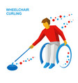 wheelchair curling curler with disabilities vector image