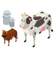 3d design for cows and milk tanks vector image vector image