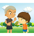 a boy scolding a kid with a money vector image