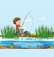 a man fishing at lake vector image
