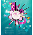 background with cosmetics and make-up objects vector image vector image