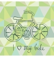 Bicycle silhouette on geometric background