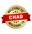 chad 3d gold badge with red ribbon vector image vector image