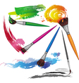 color paintbrush with splashes vector image