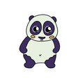 coloured panda line icon vector image vector image