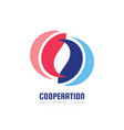 cooperation - abstract business logo design vector image vector image
