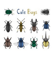 cute bug icon set vector image