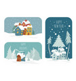 cute winter holiday sticker icon set elements for vector image vector image