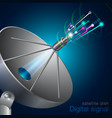 digital signal satellite dish vector image vector image
