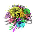 dotwork style skull with indian feather hat vector image