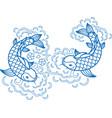 fish koi art carp line traditional drawing japan vector image