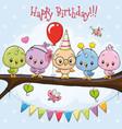 five cute cartoon birds on a branch vector image vector image