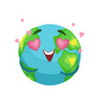 funny earth planet character with pink heart vector image vector image