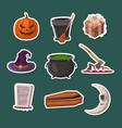 halloween party cartoon icons set vector image