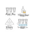 hand drawn signs for cocktail bar or cafe vector image