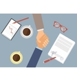 Handshake of businessmen Flat image vector image