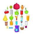 heavy drinking icons set cartoon style vector image