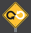 infinity warning highway or road sign vector image vector image