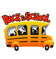 kids riding on cartoon fun school bus vector image