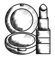 lipstick and blush make up drawing icon vector image