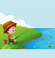 little boy fishing by the river bank vector image vector image