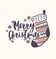 merry christmas lettering handwritten with elegant vector image