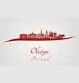 olsztyn skyline in red vector image vector image